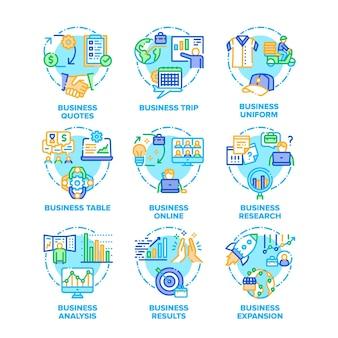 Ícones de conjunto de plano de negócios