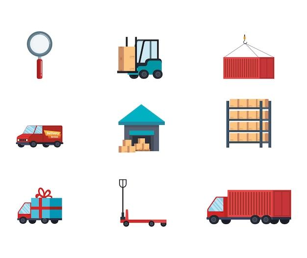 Ícones de conjunto de serviço de entrega