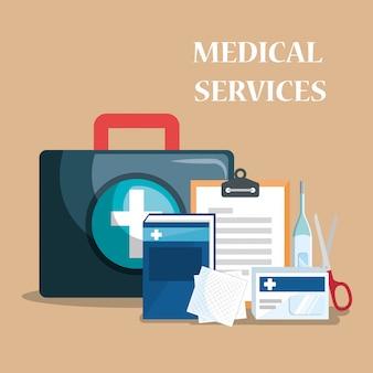 Ícones de conjunto de serviço médico