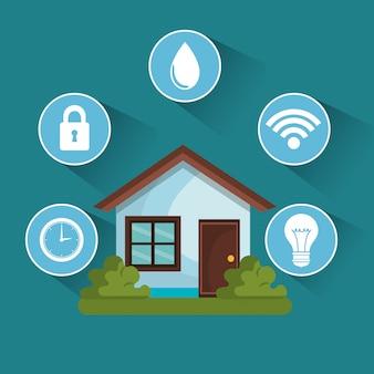 Ícones de conjunto de tecnologia de casa inteligente