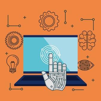 Ícones de conjunto de tecnologia de inteligência artificial