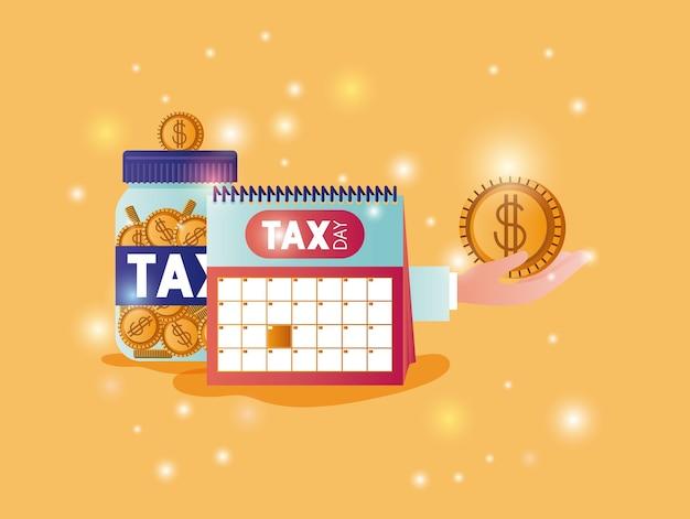 Ícones de conjunto de tempo de imposto