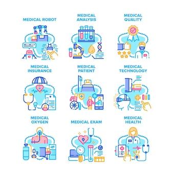 Ícones de conjunto de tratamento médico