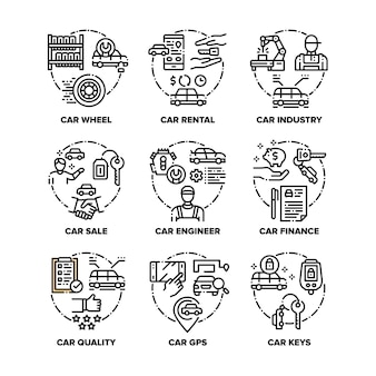 Ícones de conjunto de veículos automóveis