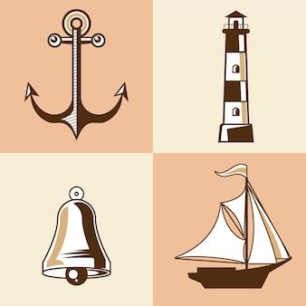 Ícones de conjunto náutico