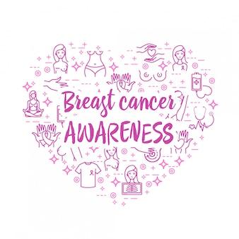 Ícones de conscientização de câncer de mama