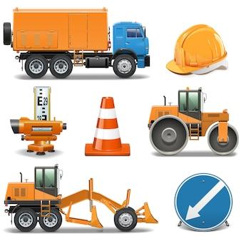 Ícones de construção de estradas