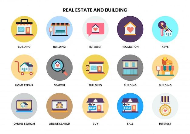 Ícones de construção definido para negócios