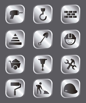 Ícones de construção sobre ilustração vetorial de fundo cinza