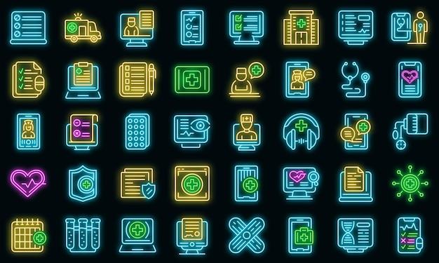 Ícones de consulta médica online definem vetor neon