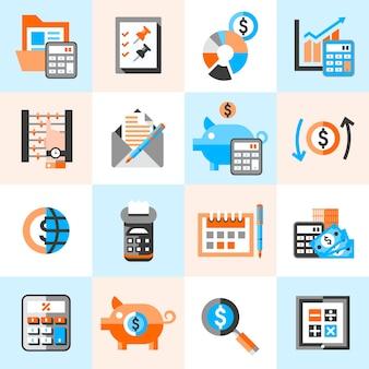 Ícones de contabilidade configurados