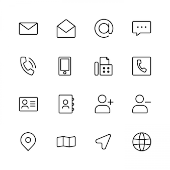 Ícones de contatos móveis da web
