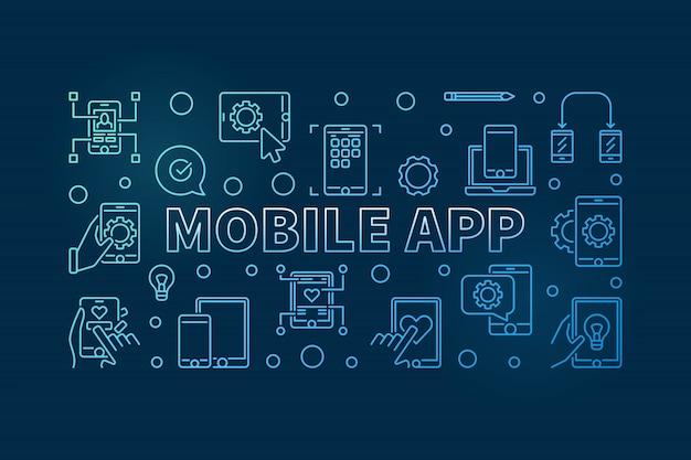 Ícones de contorno azul de aplicativo móvel
