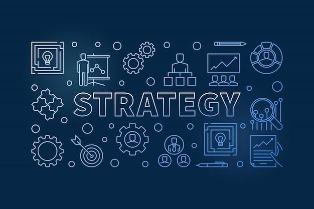 Ícones de contorno azul de estratégia