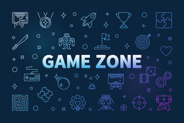 Ícones de contorno colorido da game zone