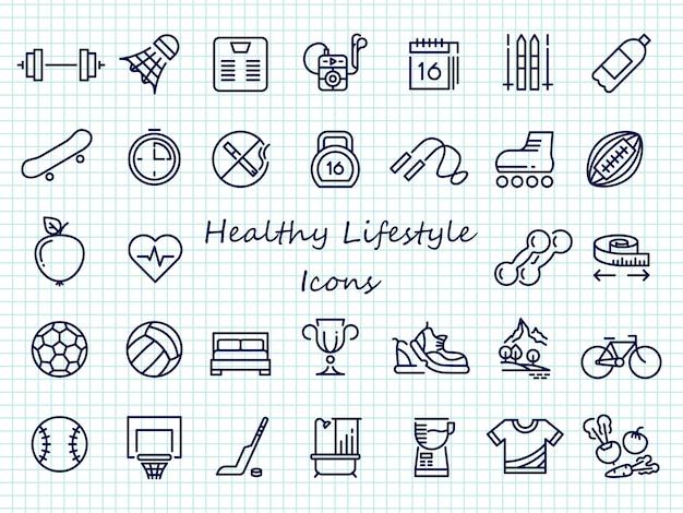 Ícones de contorno de estilo de vida saudável - grande conjunto de ícones do esporte