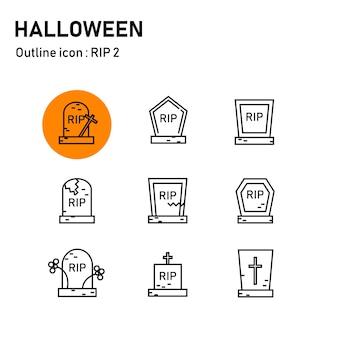 Ícones de contorno de halloween