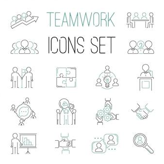 Ícones de contorno de teambuilding de trabalho em equipe de negócios