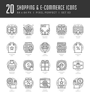 Ícones de contorno definem símbolos gráficos modernos, compras e conceitos comerciais