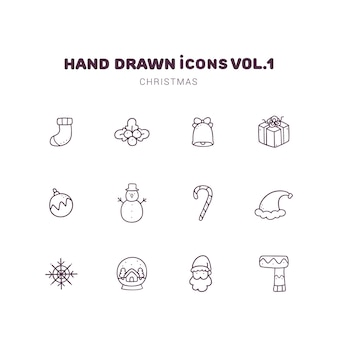 Ícones de contorno desenhado de mão de natal
