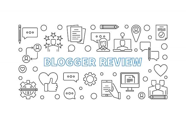 Ícones de contorno do conceito de revisão do blogger