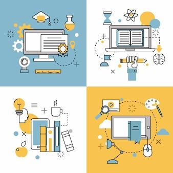 Ícones de contorno fino de educação on-line vector conjunto de símbolos de escola e webinar de distância
