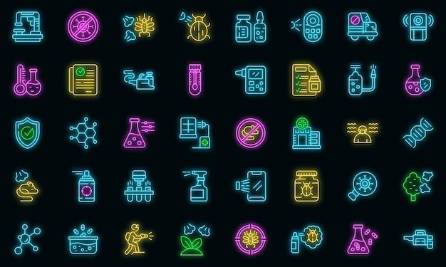 Ícones de controle químico definido vetor neon