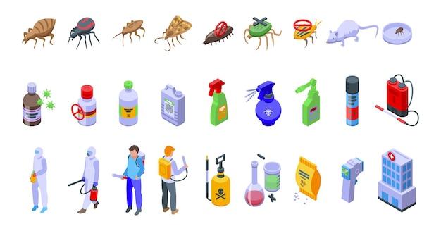 Ícones de controle químico definir vetor isométrico. teste de qualidade. evitar segurança
