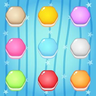 Ícones de cookies no hexágono de forma para design de jogos.