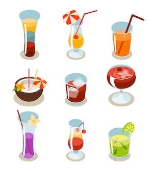 Ícones de coquetéis isométricos. vidro e álcool, líquido e suco, bebida tropical fresca.