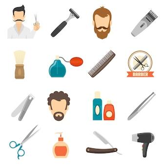 Ícones de cor de barbeiro