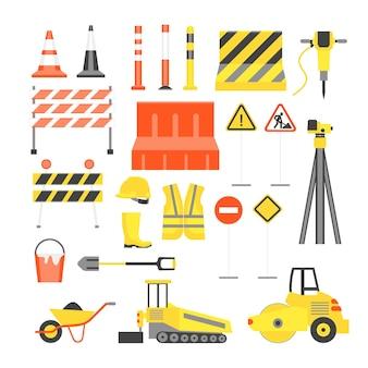 Ícones de cor de construção de estrada dos desenhos animados definir elementos de design de estilo simples transporte, equipamento e placa de rua. ilustração vetorial