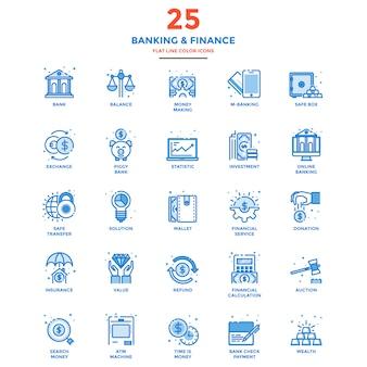 Ícones de cor moderna linha plana bancário e financeiro