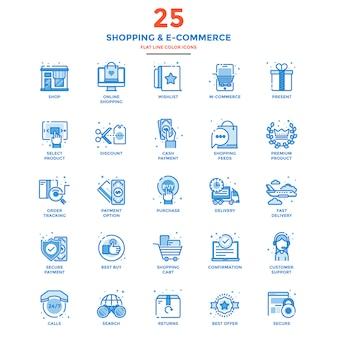 Ícones de cor moderna linha plana, compras e comércio eletrônico