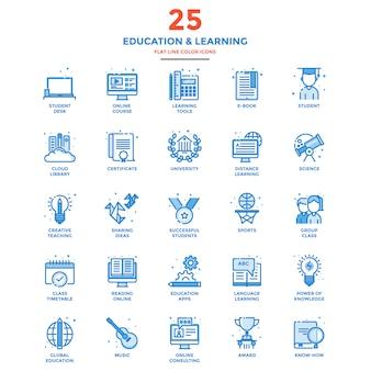 Ícones de cor moderna linha plana educação e aprendizagem
