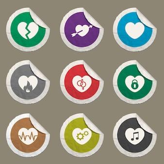 Ícones de coração definidos para sites e interface do usuário