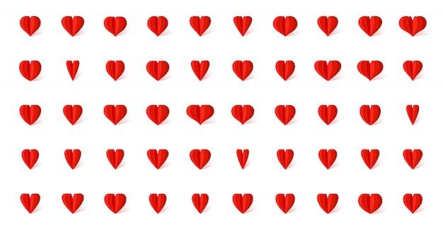 Ícones de coração no estilo de papel em camadas com conjunto de sombra