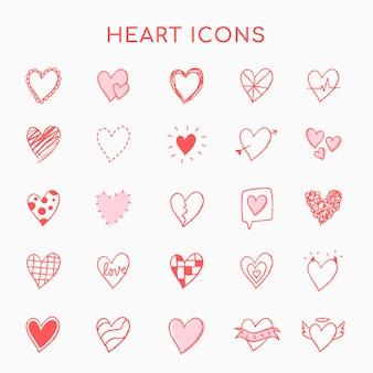Ícones de coração, vetor de conjunto rosa em estilo doodle desenhado à mão
