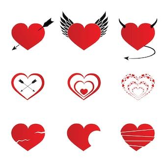 Ícones de corações ajustados ilustração no fundo branco