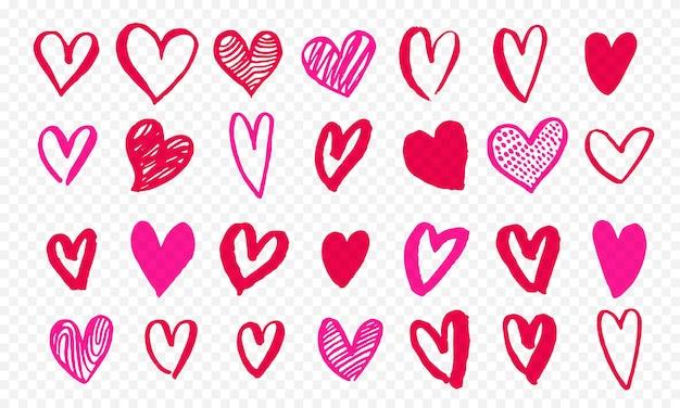 Ícones de corações desenhados à mão para o dia dos namorados