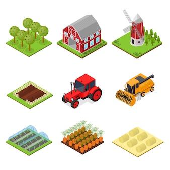 Ícones de cores de fazenda definem vista isométrica da paisagem rural para jogo ou aplicativo