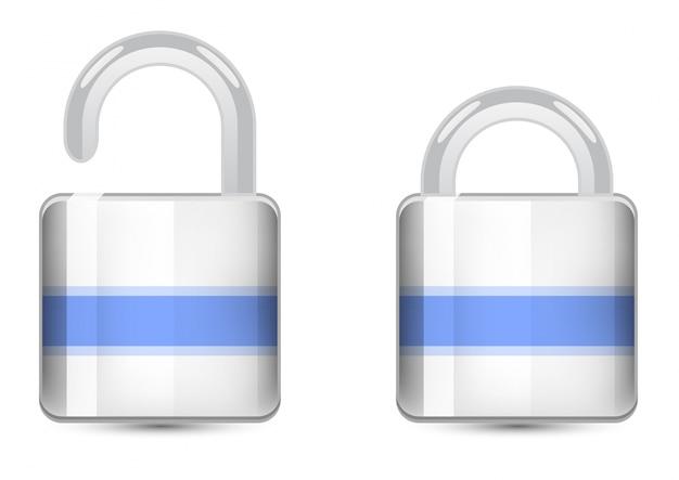 Ícones de cores do conjunto de vetores. ícone cadeado