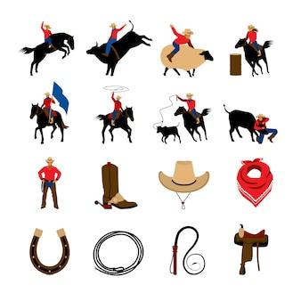 Ícones de cores planas de rodeio com cowboys de rodeio