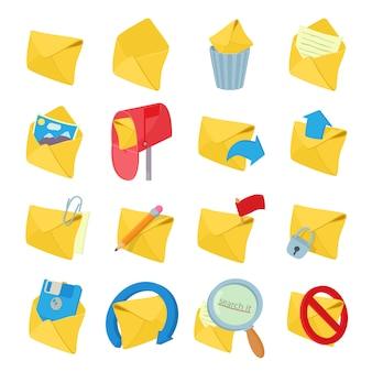 Ícones de correio definido no vetor de estilo dos desenhos animados