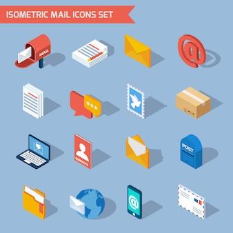 Ícones de correio isométrico