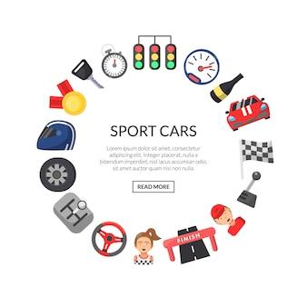 Ícones de corridas de carros planos em forma de círculo