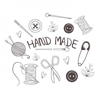 Ícones de costura de costura feitos à mão