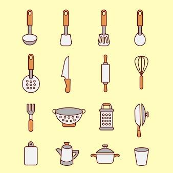 Ícones de cozinha conjunto chef