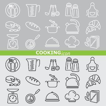Ícones de cozinha. . conjunto linear.