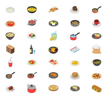 Ícones De Cozinha Isométrica